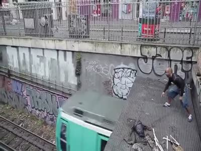 Crazy French Guy Jumps On The Roof Of A Train