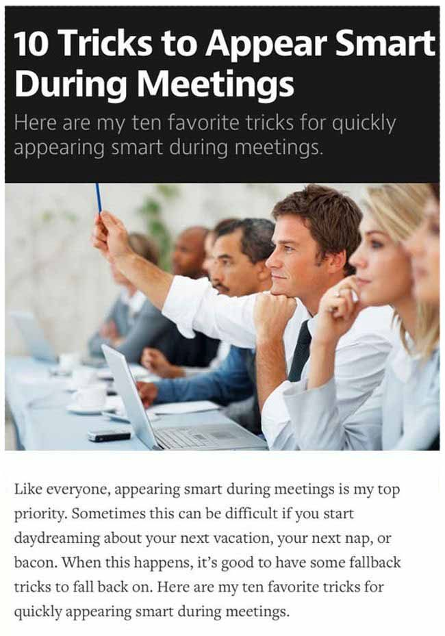 How To Convince People You're Smart In A Meeting (8 pics)