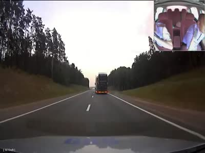 Police Chasing A Drunk Truck Driver In Belarus
