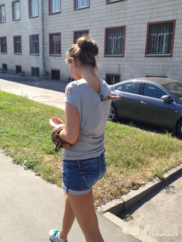 Woman Takes Snake For A Walk (2 pics)