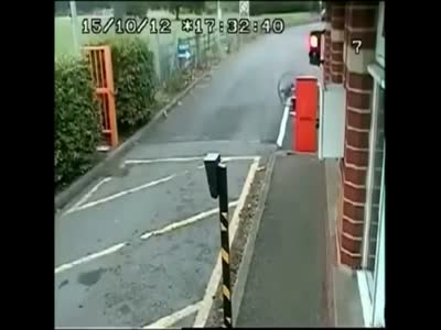 Cyclist Hits the Barrier At Top Speed