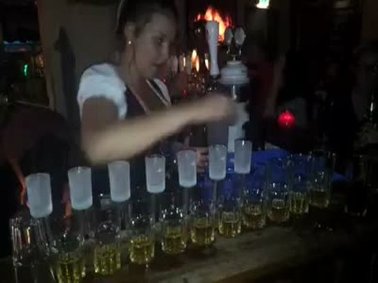 Talented Barmaid Girl Shows Her Skills