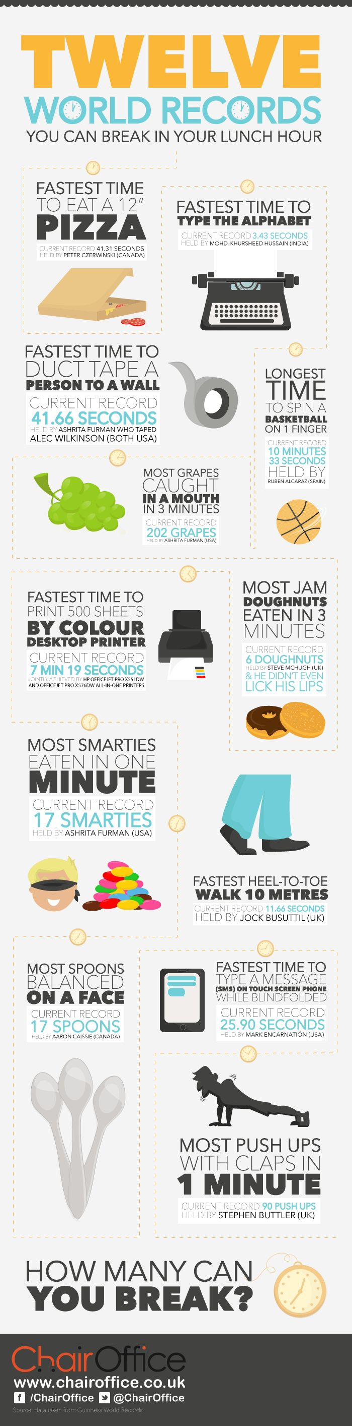 12 World Records You Could Easily Break (infographic)
