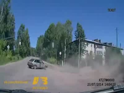 Uncontrolled Asphalt Paver Slams Down The Hill