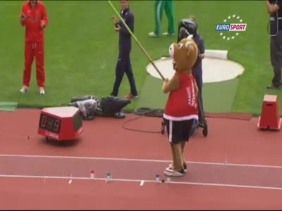 Mascot Does An Awesome Jump