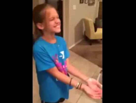 Girl Surprised By Her Birthday Present
