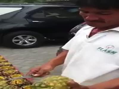 Peeling A Pineapple Like A Boss