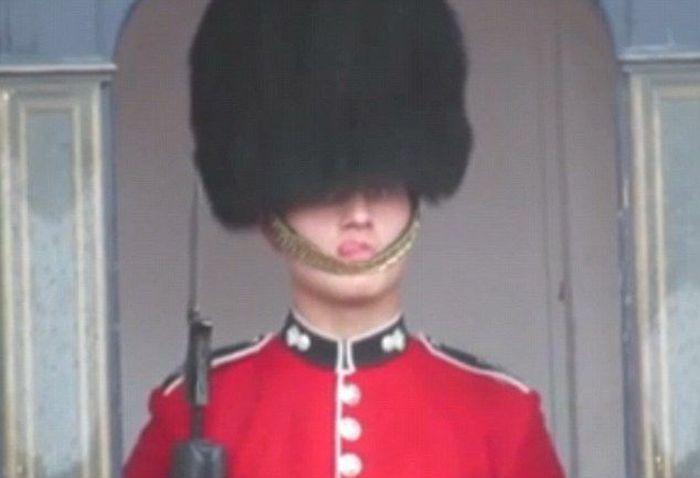 Queen's Guard Has A Wardrobe Malfunction (4 pics)
