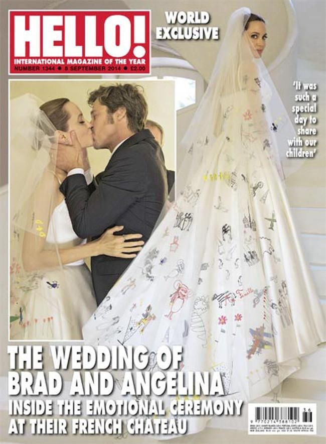 Angelina Jolie Let Her Kids Cover Her Wedding Dress With Drawings (2 pics)