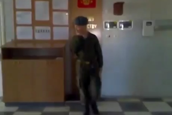 Russian Soldier Dancing While On Duty