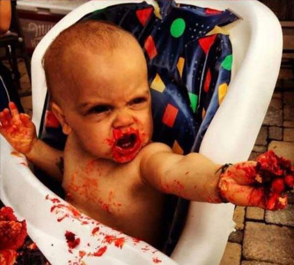 Baby Turns Into A Zombie On Its 1st Birthday (3 pics)