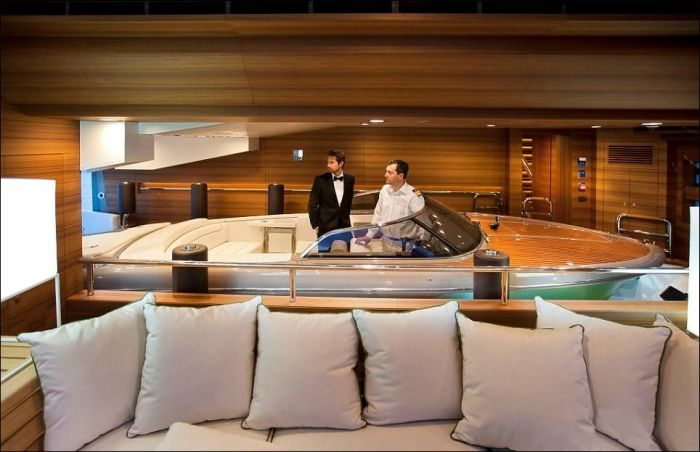 Yacht with a Built-in Garage for Boats (16 pics)