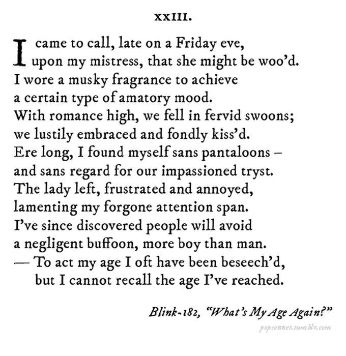 Famous Pop Song Lyrics Rewritten As Sonnets (27 pics)