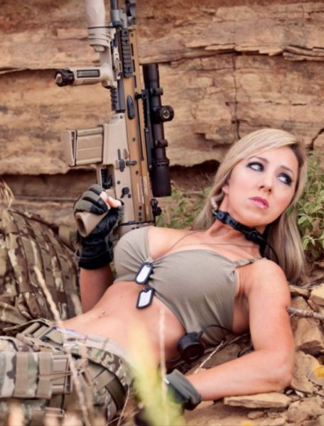 Speak military naked army girl holding a gun are absolutely