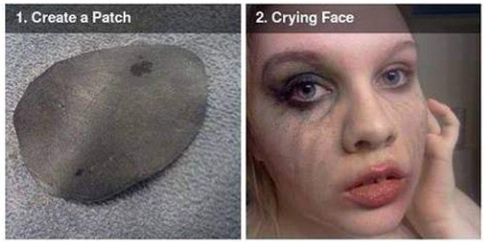 Scary Missing Eye Makeup DIY (4 pics)