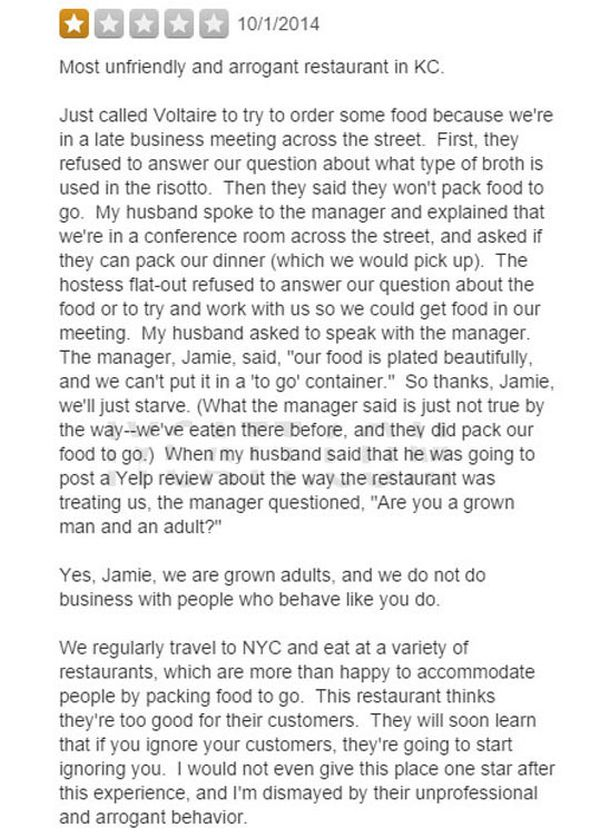 Restaurant Owner Has The Perfect Response To Angry Yelp User (3 pics)