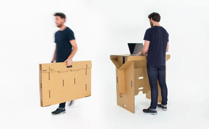 The Cardboard Desk You Can Take Anywhere (9 pics)