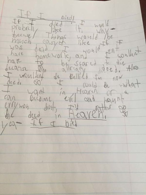 9 Year Old Kid Writes Extremely Creepy Essay (2 pics)