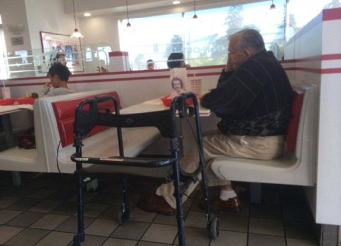 Man Still Takes His Wife To Lunch Long After She's Gone (2 pics)