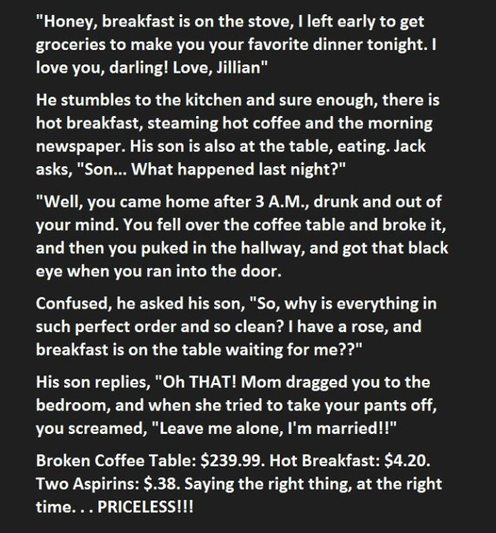 This Man Said The Right Thing At The Right Time To His Wife (2 pics)