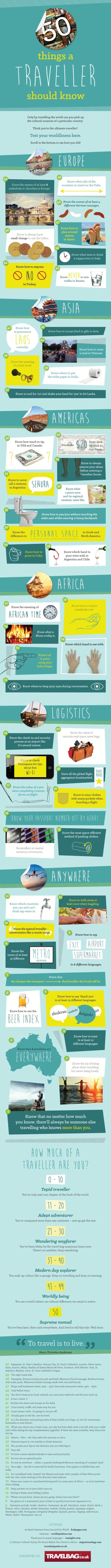 50 Things You Need To Know If You're Going To Be Traveling (infographic)