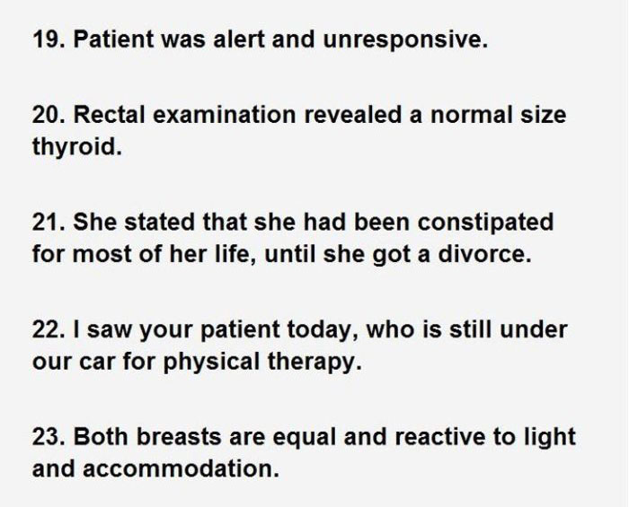 Hilarious Sentences Found In Patients' Hospital Charts (7 pics)