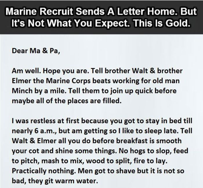 This Marine Sent A Letter To Home (3 pics)