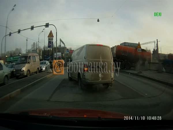 Truck Falls into a River in Saint Petersburg, Russia