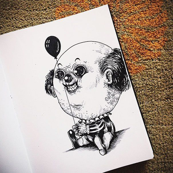 Famous Horror Characters Drawn As Creepy Babies (31 pics)