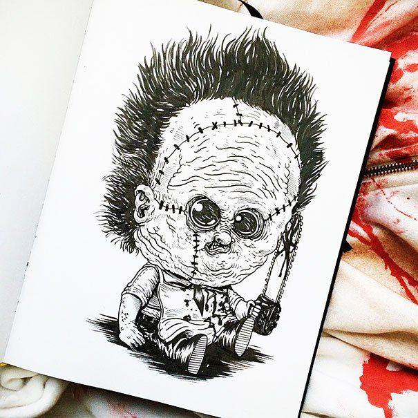 Famous Horror Characters Drawn As Creepy Babies (31 pics)