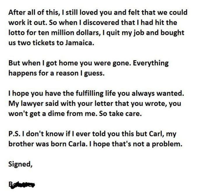 This Man Gets The Last Laugh With His Marriage Breakup Letter (3 pics)