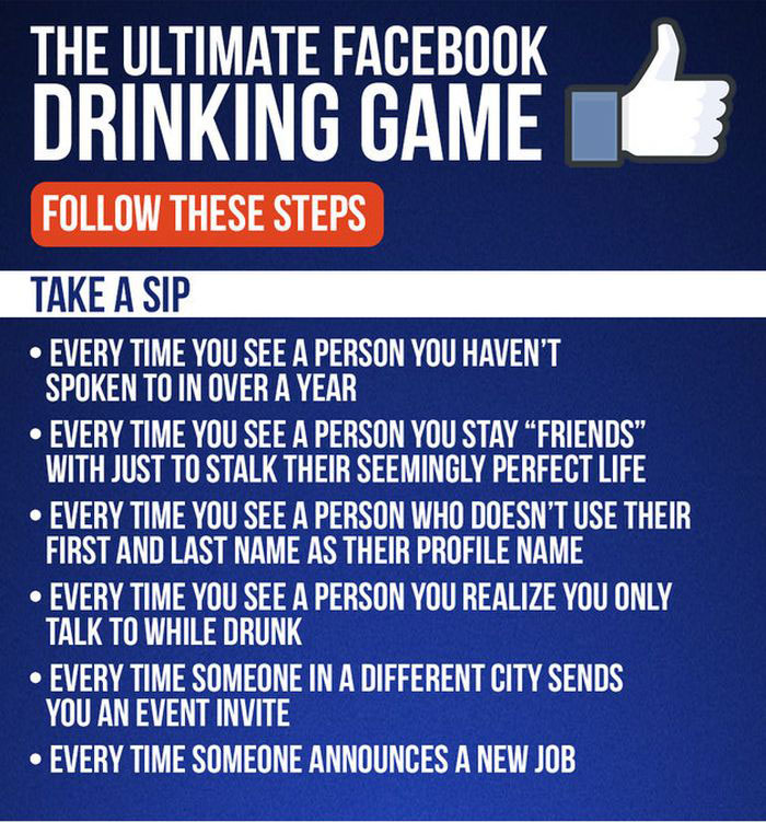 How To Turn Facebook Into A Drinking Game (4 pics)
