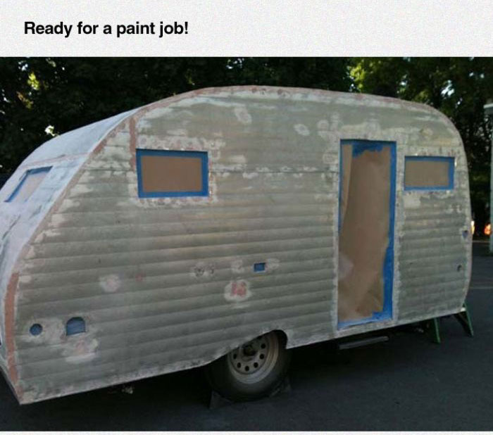 Couple Turns An Old Camper Into Something Awesome (37 pics)