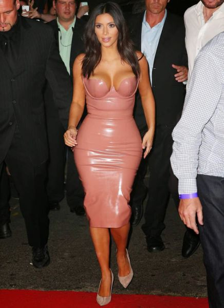 Kim Kardashian Steps Out In A Tight Flesh Colored Dress (24 pics)