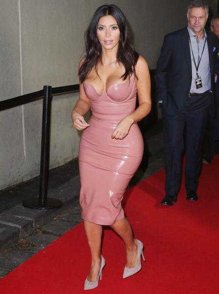 Kim Kardashian Steps Out In A Tight Flesh Colored Dress (24 pics)