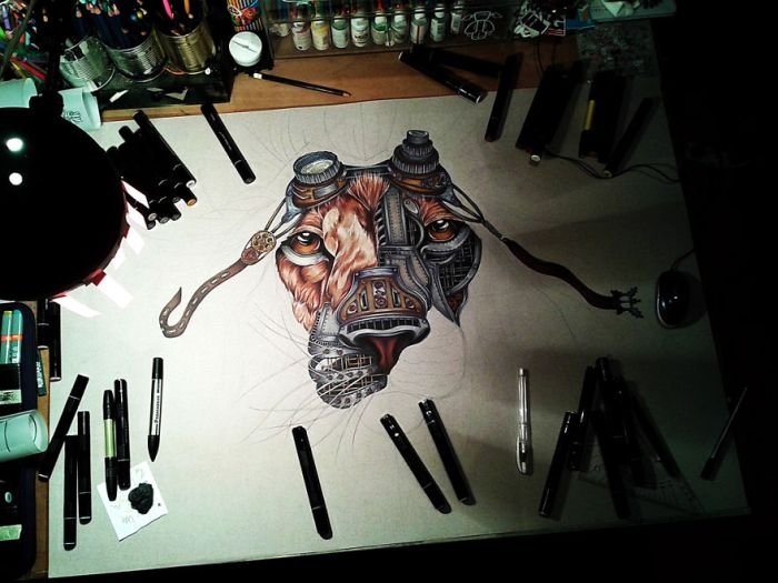How To Draw A Steampunk Lion Step By Step (12 pics)