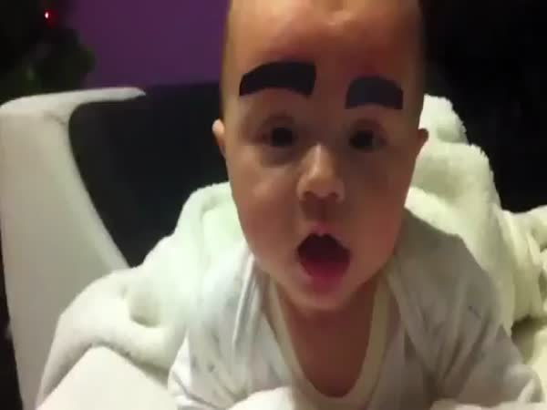 Dad Gives Baby Girl A Funny Moustache Makeover