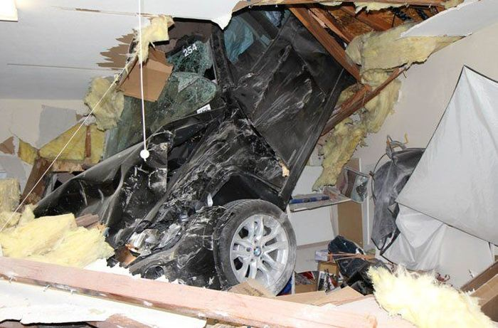 Car Goes Through The Roof And Into The Garage (10 pics)