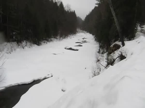 Ice Flow In River After Ice Dam Burst