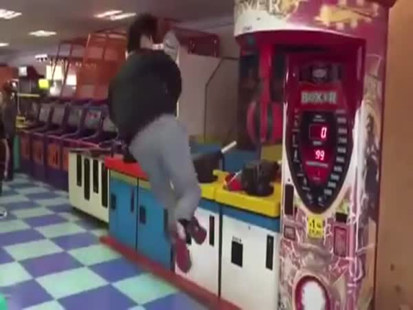 Guy Vs An Arcade Boxing Machine