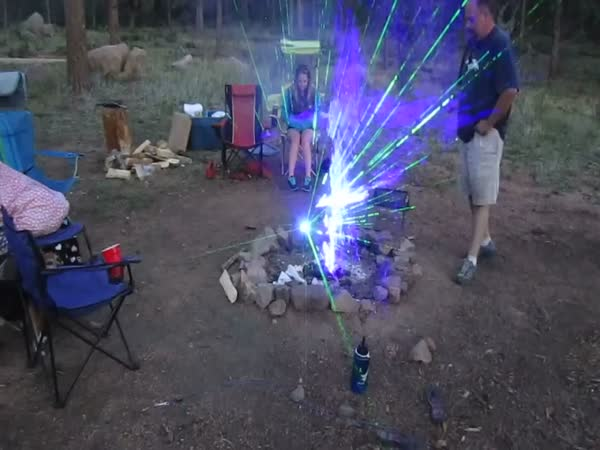 Awesome Effect From Lasers And A Camp Fire