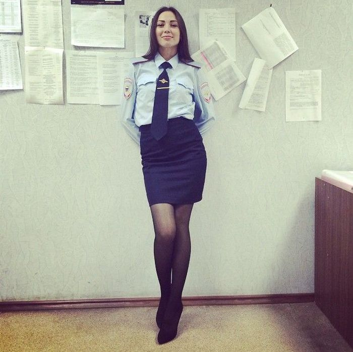Necessary words... Russian girl police outfit the truth