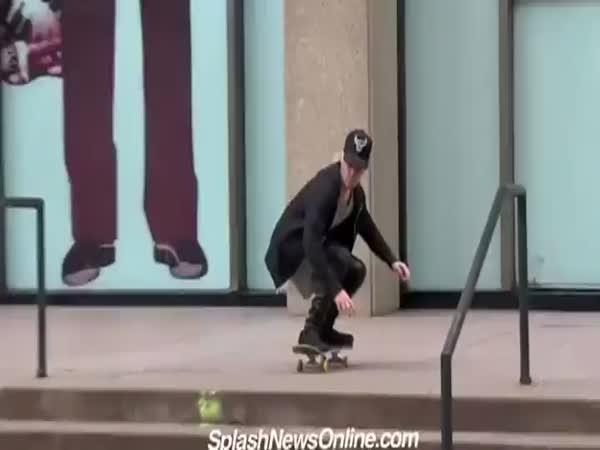 Justin Bieber Eats It On A Skateboard
