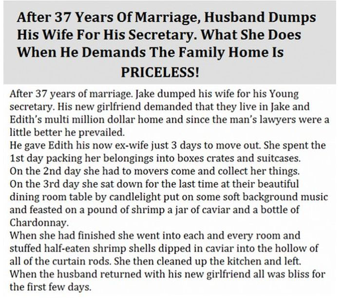 Husband Dumps Wife Of 37 Years, Her Reaction Is Priceless (3 pics)