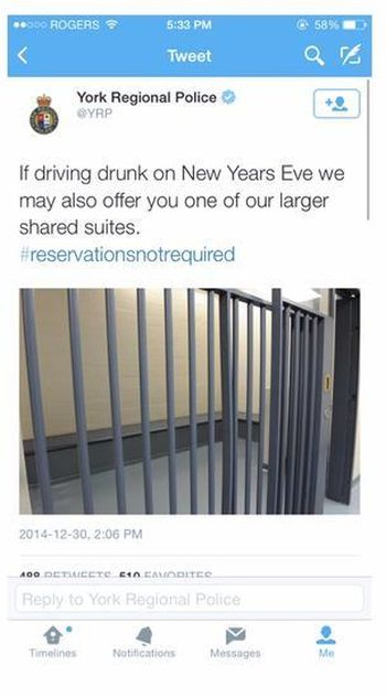 York Regional Police Have The Perfect Spot For New Year's Eve (2 pics)