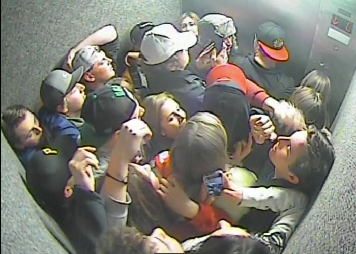 Dumbass College Kids Pile Into An Elevator