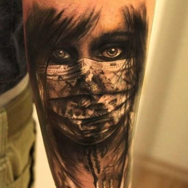 Two face tattoo for woman. 175 Best Face Tattoo Design & Ideas for ...