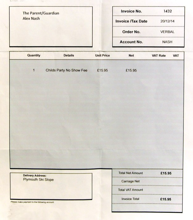 Five Year Old Gets Sent An Invoice For Missing A Birthday Party (2 pics)