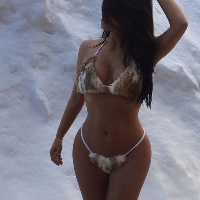Kim Kardashian Poses In A Furkini For Kanye West (3 pics)