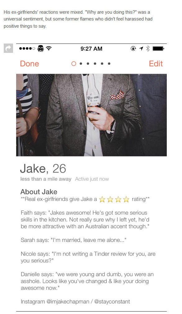 Guy Gets Ex-Girlfriends To Write Tinder Reviews For Him (5 pics)